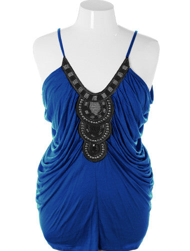 Plus Size Sexy Flowing Beaded Aztec Blue Tank