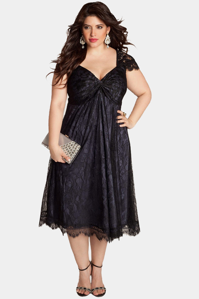 Plus Size Romance See Through Floral Lace Cocktail Dress