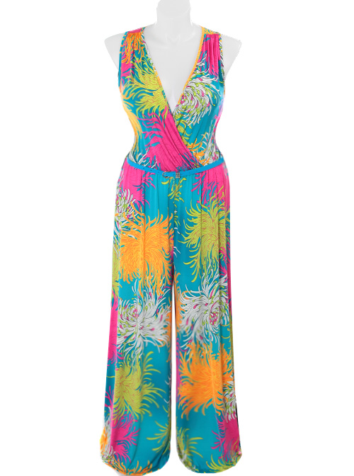 Plus Size Sexy Tropical Teal Jumpsuit
