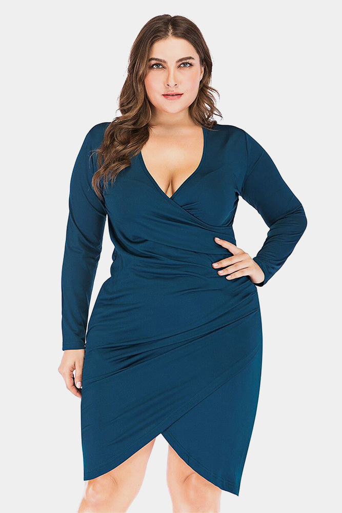 Plus Size Sexy Deep V Neck Long Sleeve Bodycon Dress