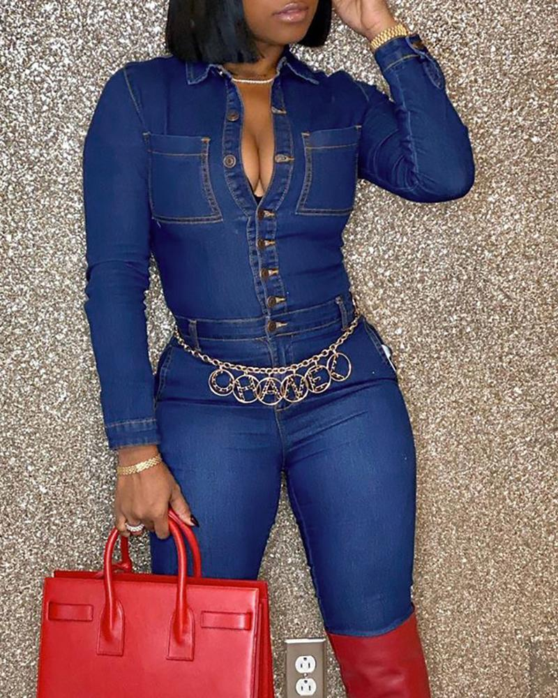 Plus Size Buttoned Pocket Design Denim Jumpsuit
