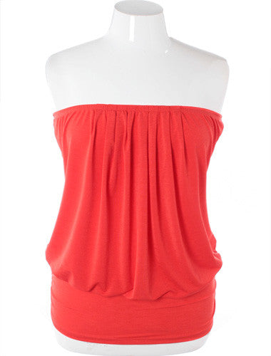 Plus Size Sexy Pleated Coral Tube Top
