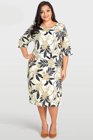 Plus Size Elegant Floral Leaves Half Sleeve Dress