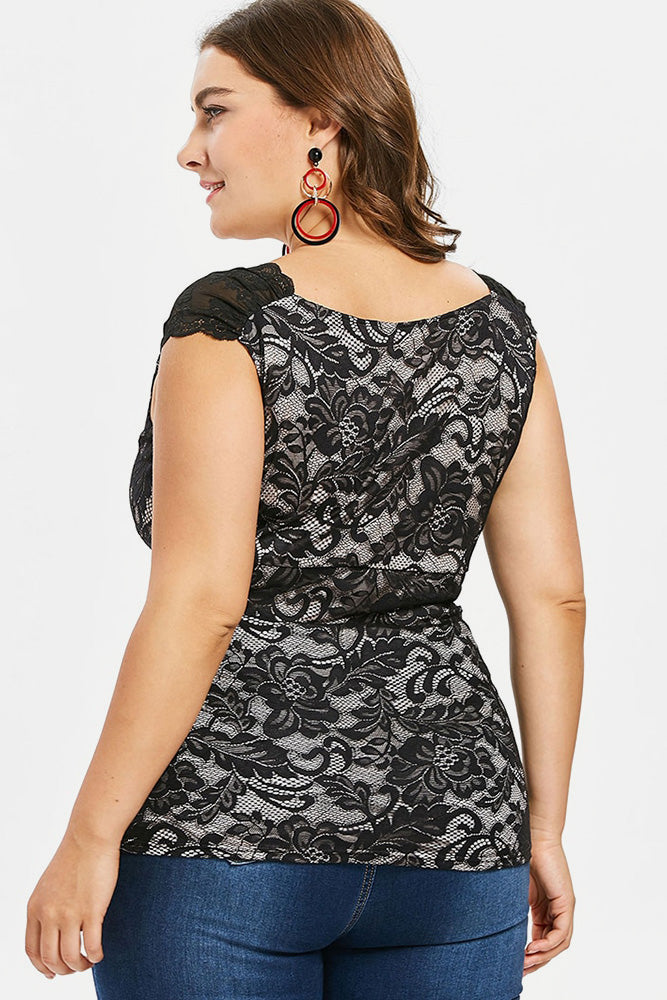 Plus Size Floral Lace Tunic Sleeveless Top