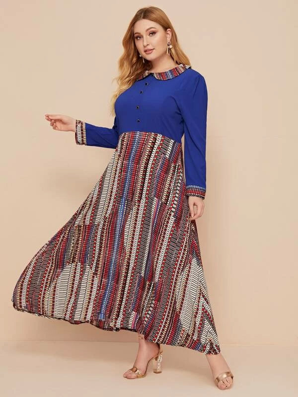 Plus Size Geo Print Cut And Sew Panel A-Line Dress