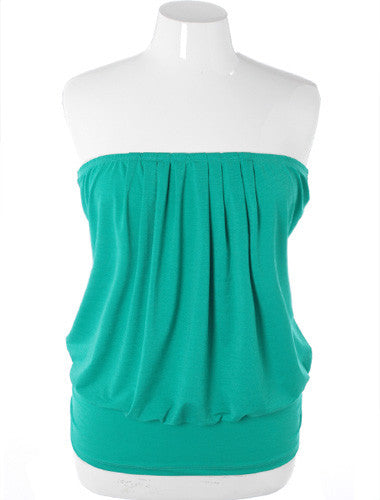 Plus Size Sexy Pleated Green Tube Top
