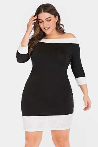 Plus Size Contrast Quarter Sleeve Bodycon Party Dress