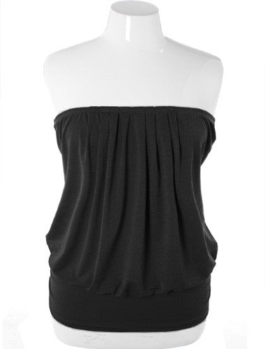 Plus Size Sexy Pleated Black Tube Top