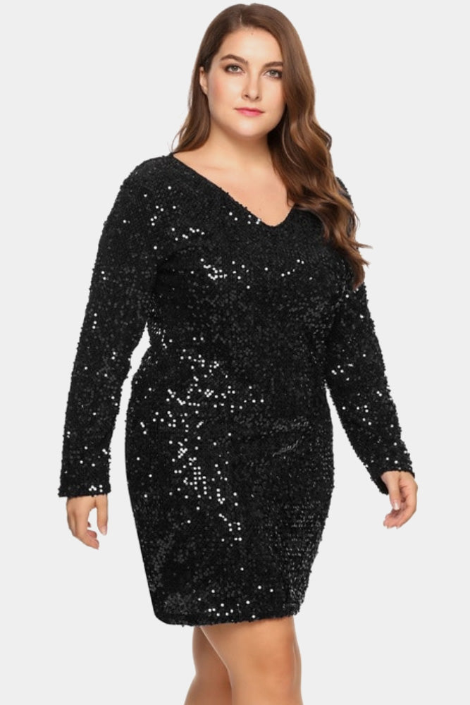 Plus Size Sparkling Sequin Party Cocktail Dress