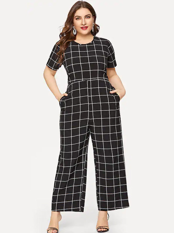 Plus Size Pocket Side Plaid Jumpsuit