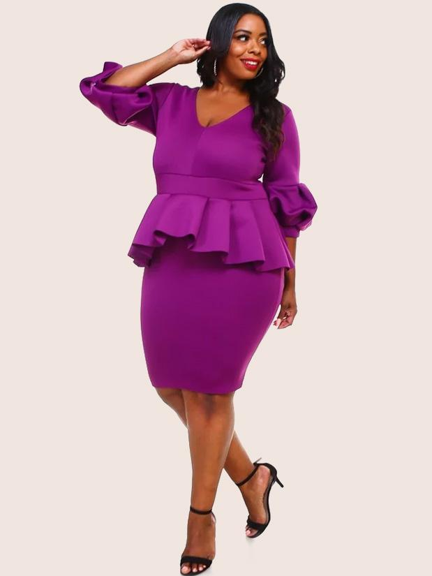 Plus Size Glam Peplum Puff Sleeve Super Techno Dress