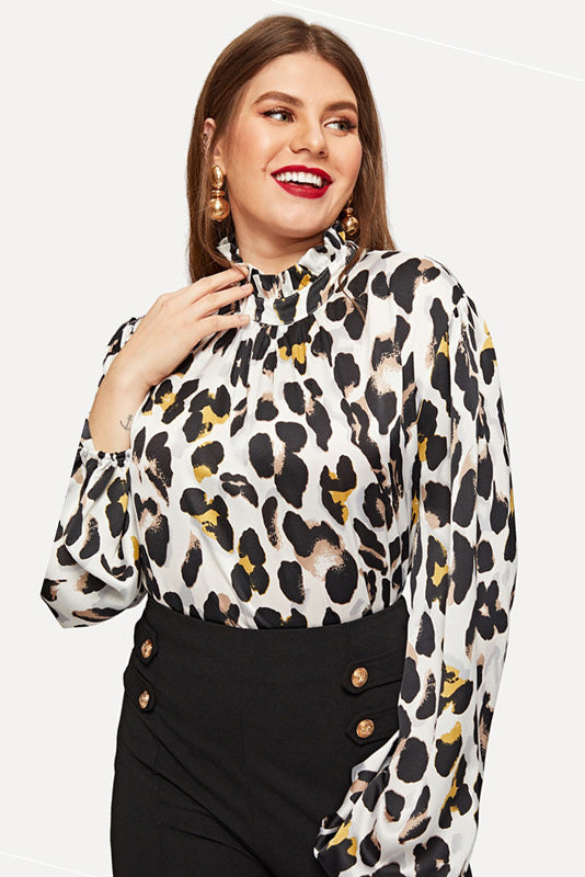 Plus Size Wild Stand Collar Leopard Print Top