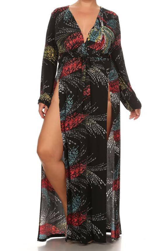 Lovely Paint Strokes High Slits Plus Size Maxi Dress