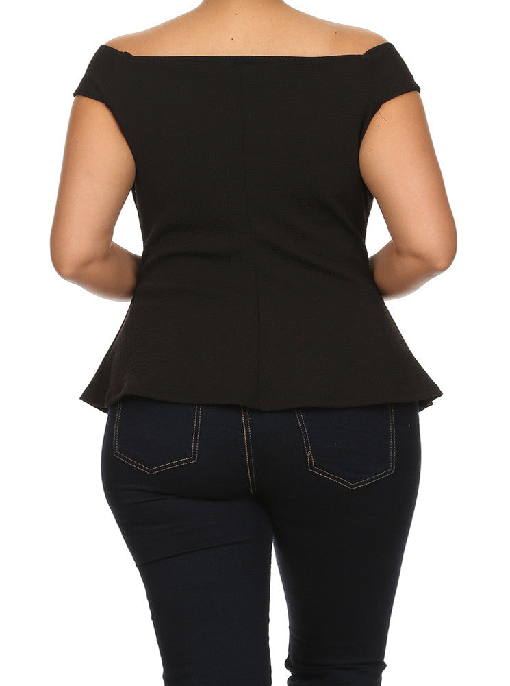 Plus Size Hot Mesh Cut Out Shoulders Black Top