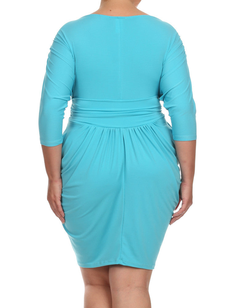 Plus Size Divine V Neck Pleated Sky Blue Dress