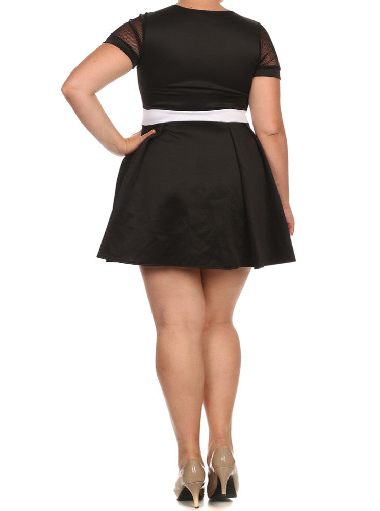 Plus Size Net Sleeves Princess Skater Dress