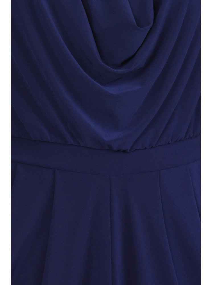 Plus Size Halter Cowl Neck V Hem Blue Dress