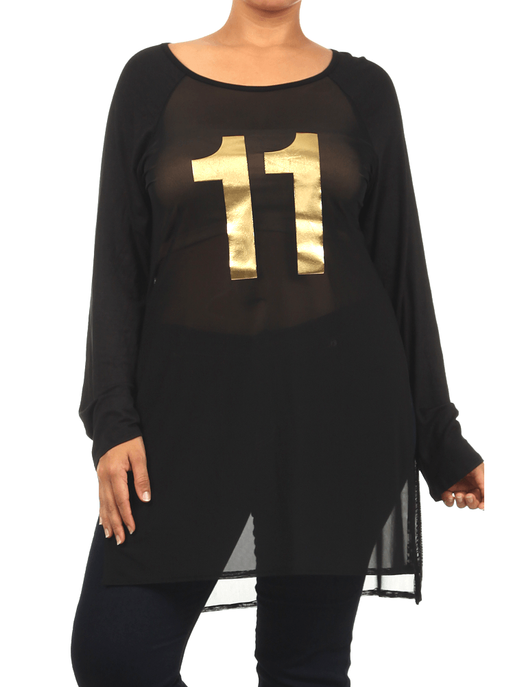 Plus Size Game On Gold Mesh Raglan Jersey Top