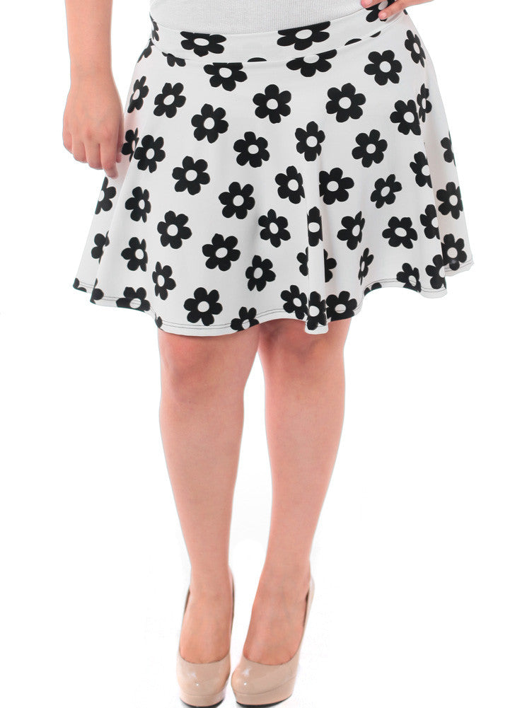 Plus Size Floral Flared White Skirt
