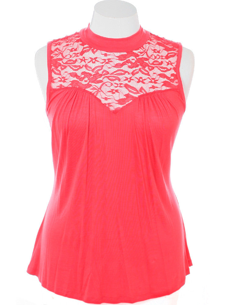 Plus Size See Through Lace Sleeveless Coral Blouse