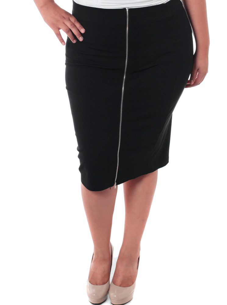 Plus Size Side Zipper Rock With You Skirt