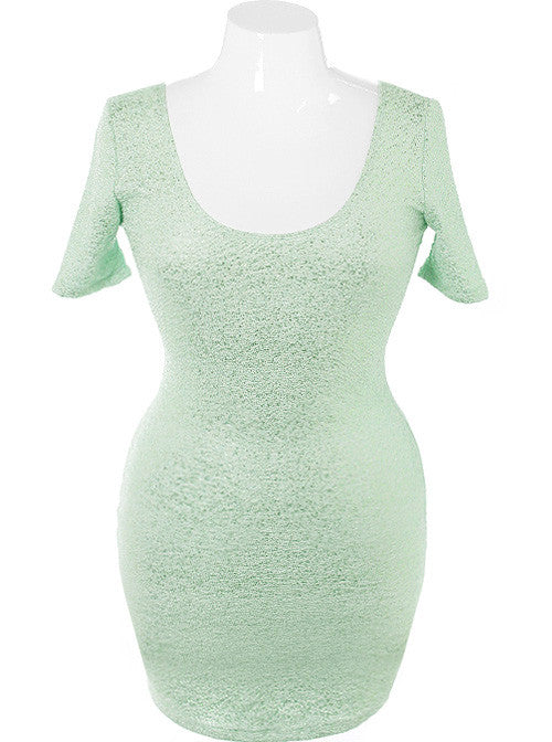 Plus Size Bodycon Sparkling Mint Dress