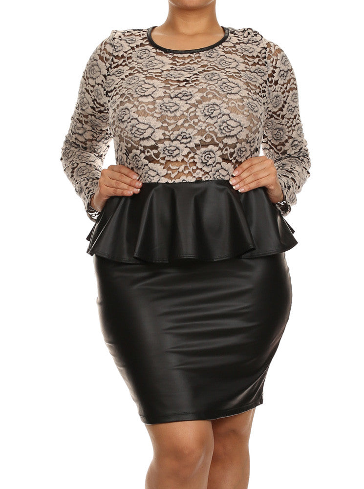 Plus Size Soft Floral Lace Peplum Leather Dress