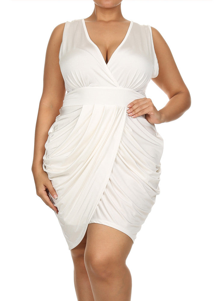 Plus Size V Neck Bubble Pearl White Dress