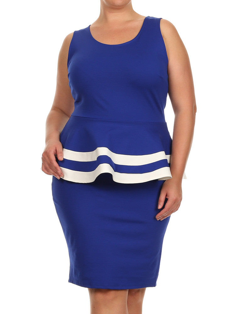 54790bbd0a6 Plus Size Lovely Colorblock Peplum Blue Dress – Plussizefix