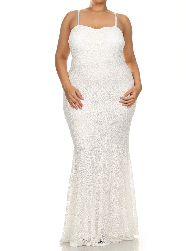 Plus Size Princess Crochet Mermaid White Maxi Dress Plussizefix