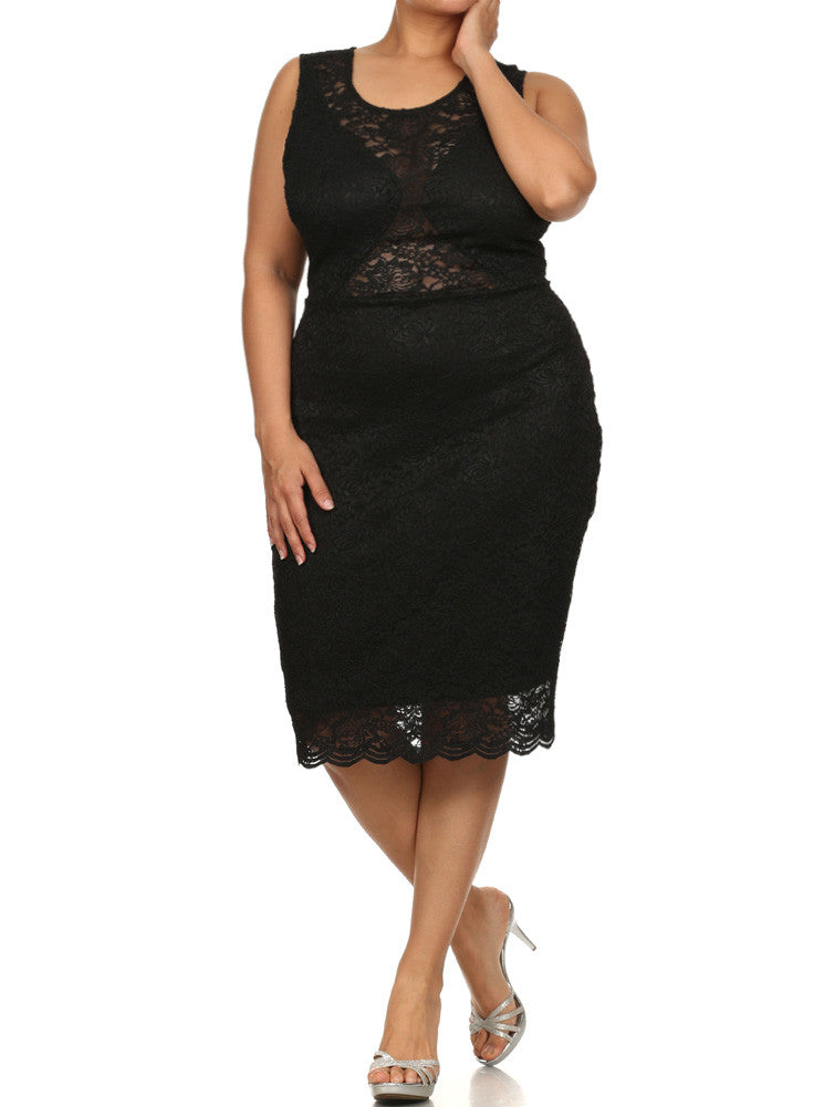 Plus Size See Through Floral Lace Black Dress