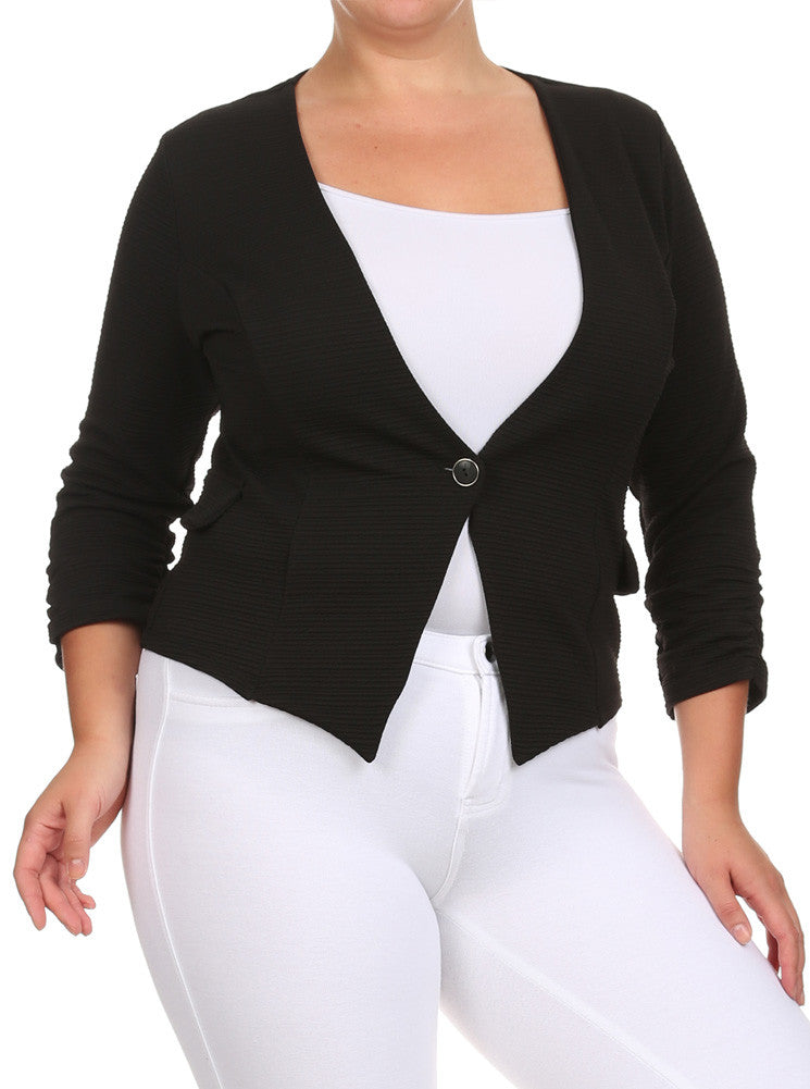 Plus Size City Nights Ribbed Black Jacket