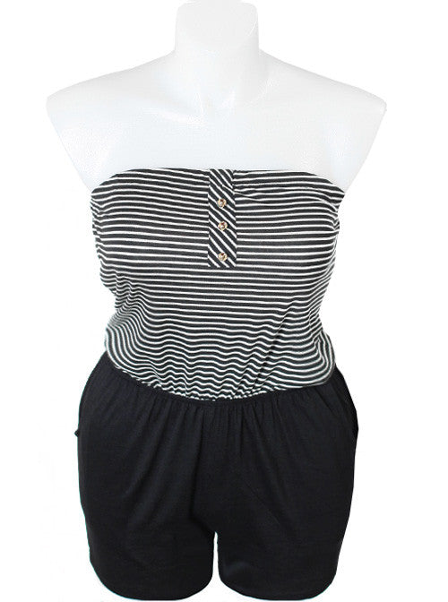 Plus Size Strapless Black Stripe Romper