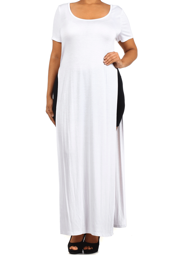 Plus Size Stand Out White Maxi Shirt Dress