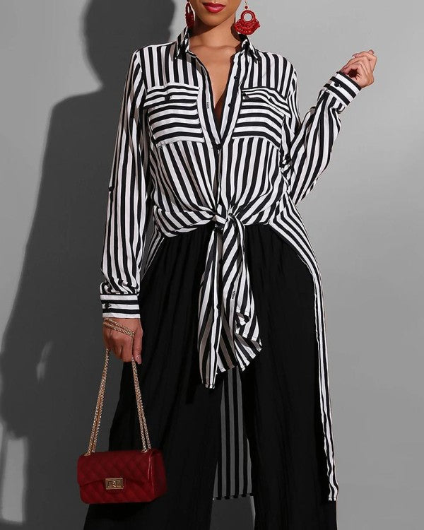 Plus Size Stripes Slit Side Irregular Shirt Top