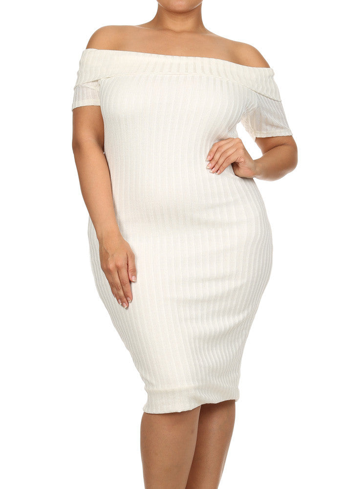 Plus Size Ribbed Knit Off The Shoulder Midi White Dress