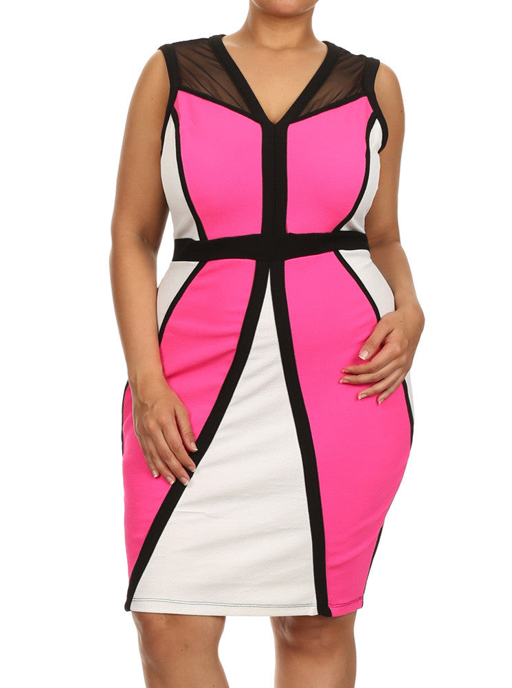 Plus Size Bombshell Paneled Mesh Pink Dress