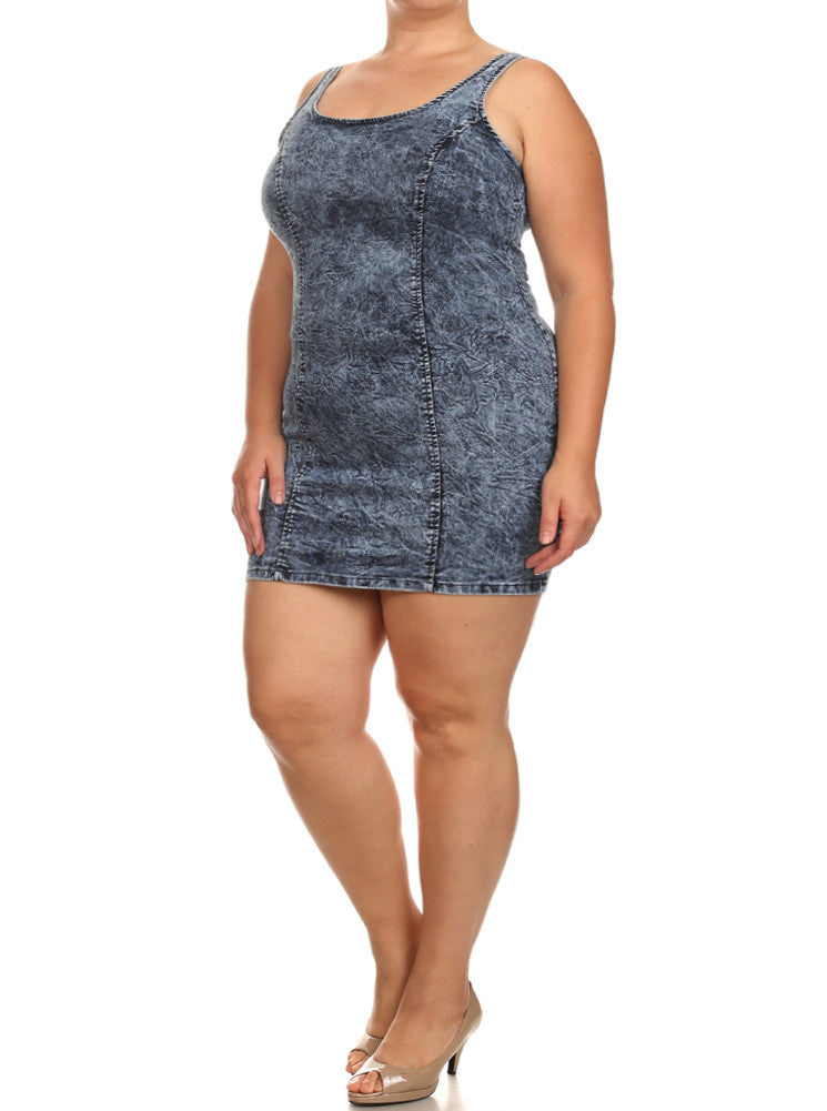 Plus Size Sexy Denim See Through Back Dress