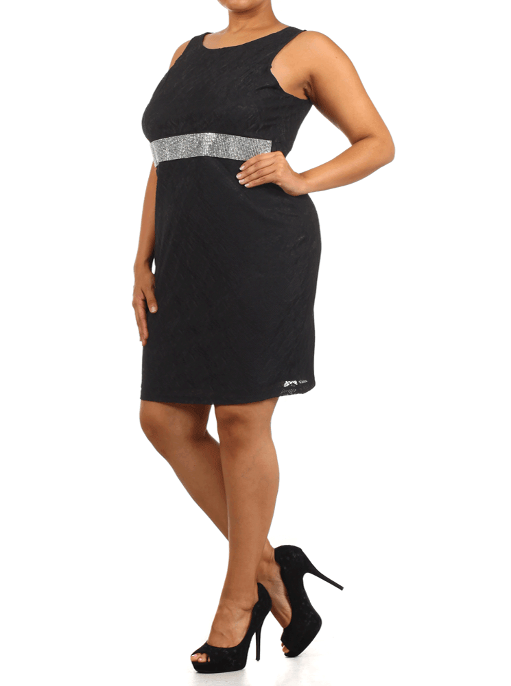 Plus Size Ravishing Rhinestone Floral Lace Black Dress