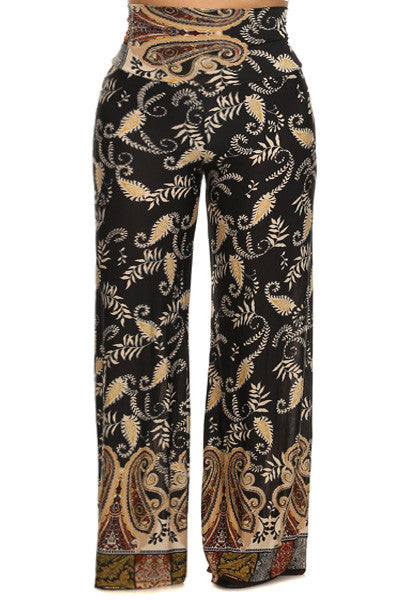 Queen Paisley Print Plus Size Palazzo Pants