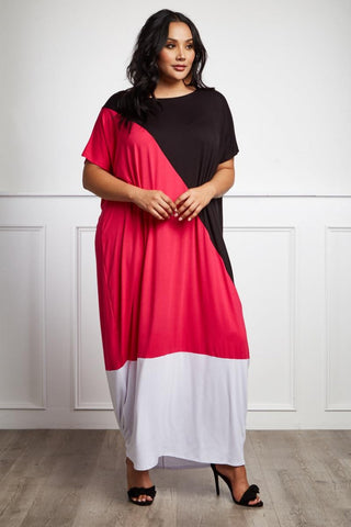 Plus Size Colorblock Comfy Maxi Dress