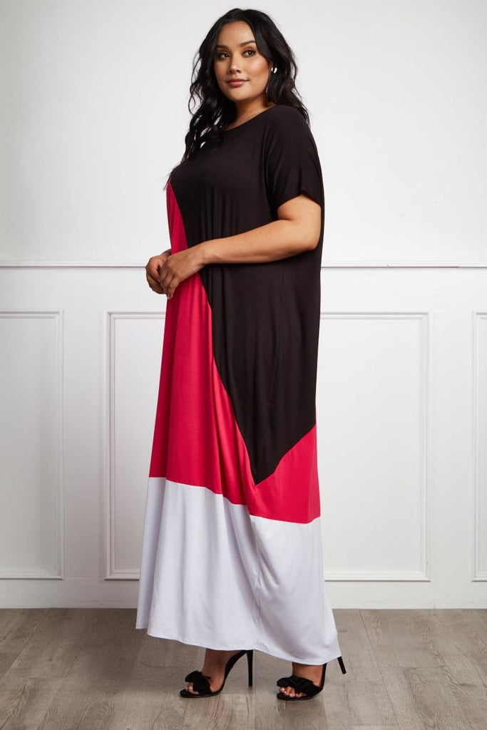 bb33469f455 Plus Size Colorblock Comfy Maxi Dress – Plussizefix