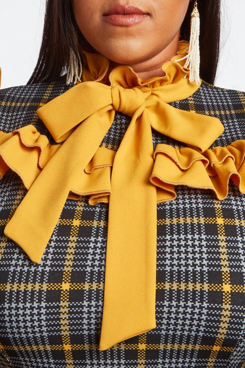 Plus Size Preppy Plaid Sexy Ruffle Dress