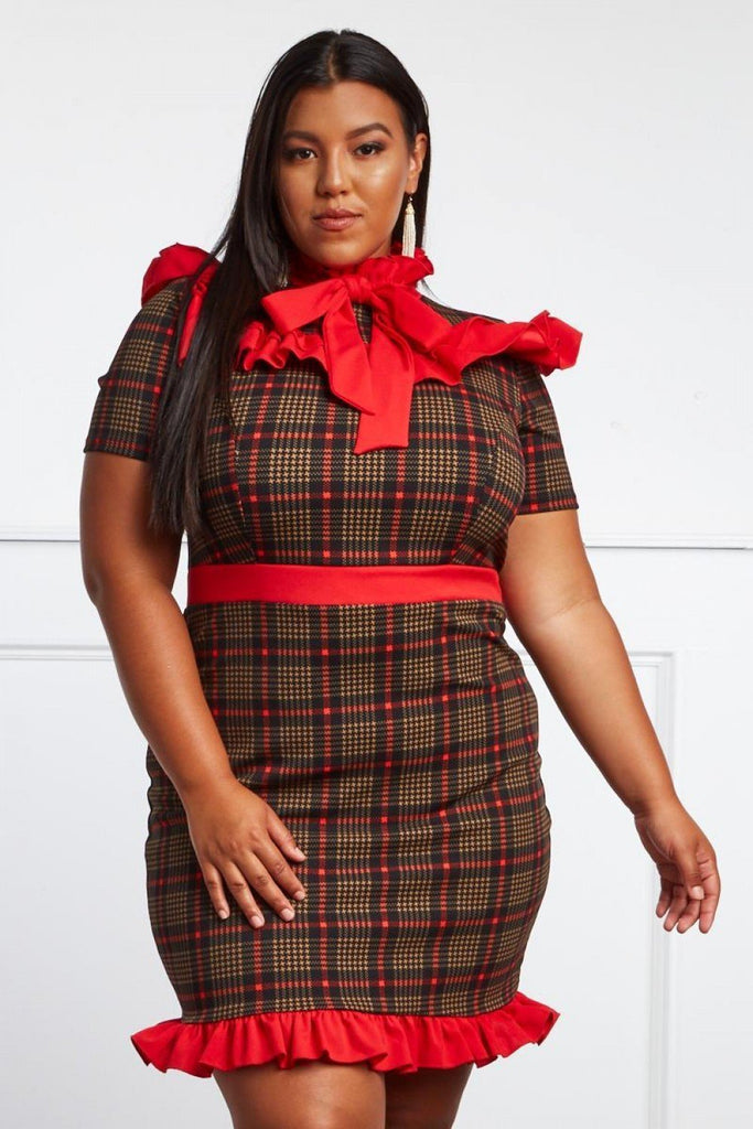 b2ed539599c Plus Size Preppy Plaid Sexy Ruffle Dress – Plussizefix