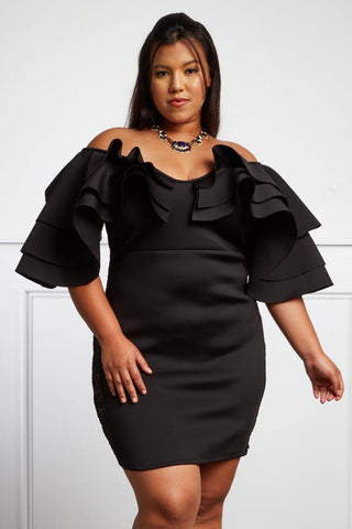 Plus Size Ruffle Off Shoulder Tiered Dress