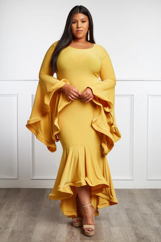 Plus Size Lovely Angel Sleeve Hi-Lo Dress