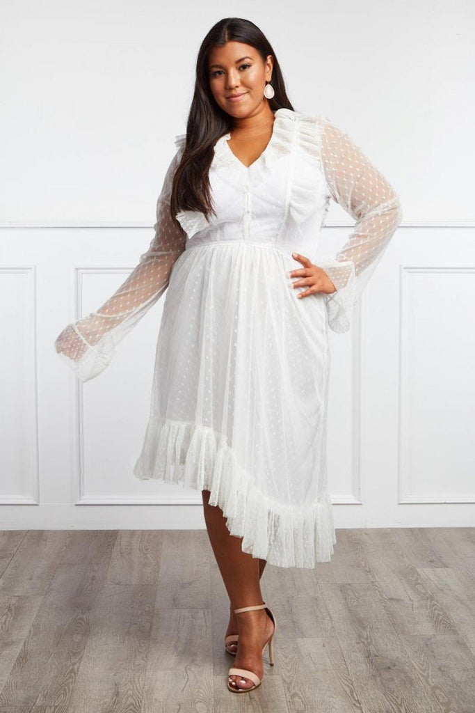 2c8bedc95a2 Plus Size Designer Ruffle Sheer Dress – Plussizefix