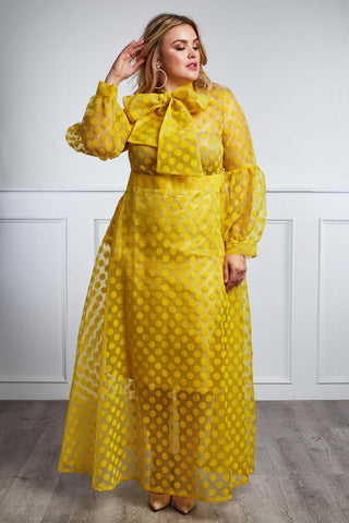 Plus Size Polka Dot Sheer Underlay Skirt Neck Tie Dress