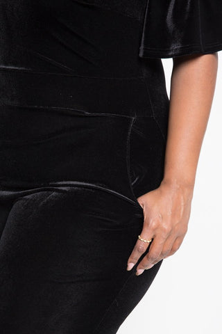 Plus Size Velvet Cold Shoulder Jumper