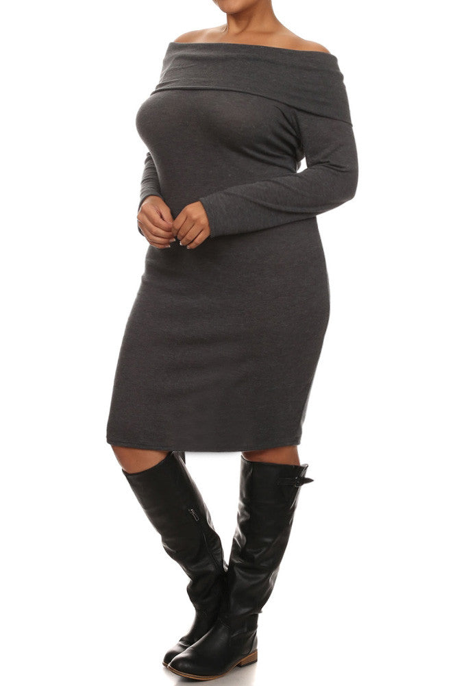 Plus Size Cowl Neck Long Sleeve Fitted Sweater Dress Plussizefix